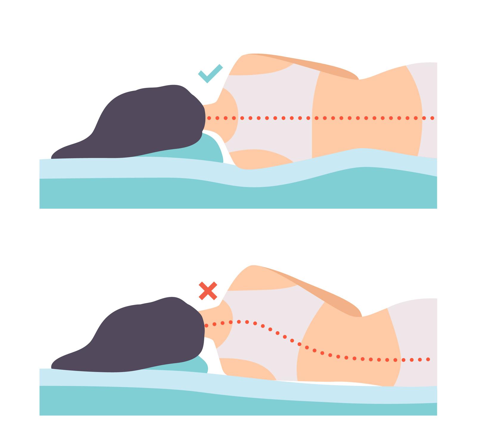 correct and incorrect angle of neck for side sleeping